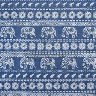 Деко-лен синий в молочный орнамент со слонами, ш.150 оптом