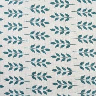 Деко-лен молочный в сине-зеленые листья, ш.150 оптом