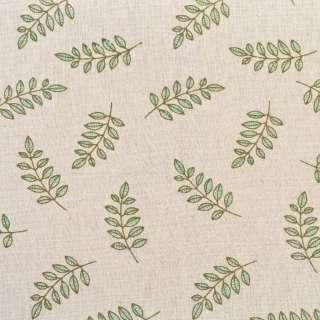 Деко-лен бежевый в оливковые ветки, ш.155 оптом