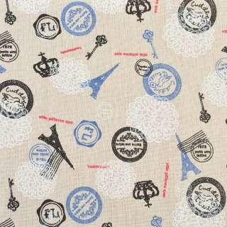 Деко-льон бежевий ейфелеві вежі, друку, ш.150 оптом