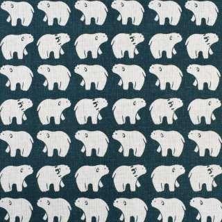 Деко-лен морская волна белые медведи, ш.150 оптом