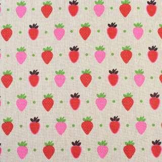 Деко-лен бежевый в красные и розовые клубники, ш.150 оптом