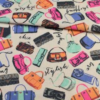 Деко-лен песочный, разноцветные сумочки, ш.150 оптом