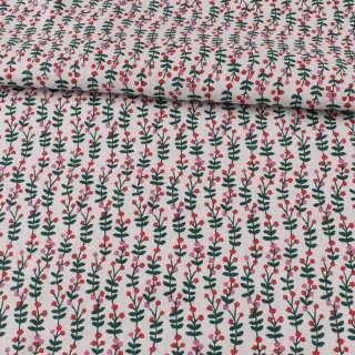 Деко-льон білий, зелені листочки, червоні, рожеві квітки, ш.150 оптом