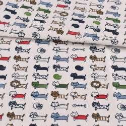 Деко-лен белый, разноцветные кошки, ш.153
