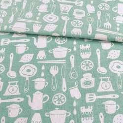 Деко-лен зеленый светлый, кухонная посуда, ш.153