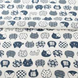 Деко-лен белый, синие графические кошки, ш.150