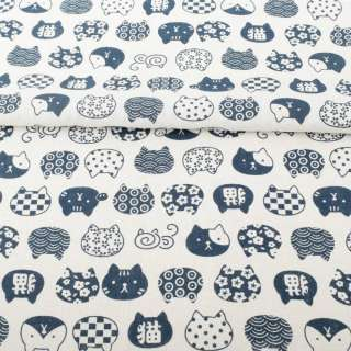 Деко-льон білий, сині графічні кішки, ш.150 оптом
