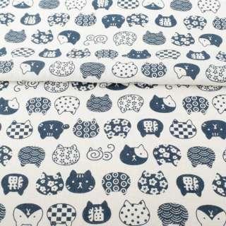 Деко-лен белый, синие графические кошки, ш.150 оптом