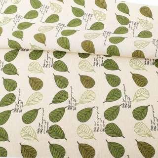 Деко-лен бежевый, зеленые, белые листья, ш.156 оптом