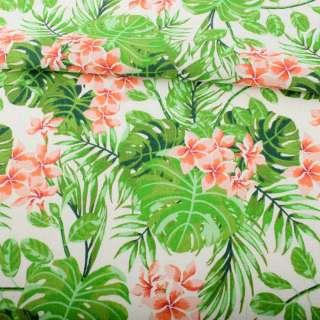 Деко-лен белый, зеленые тропические листья, оранжевые цветы ш.152 оптом