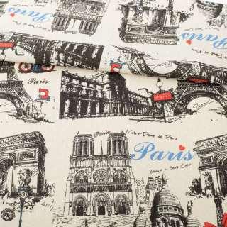 Деко-лен песочный, черные графические рисунки, Париж, раппорт 32см, ш.152 оптом