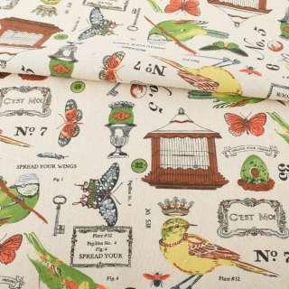 Деко-лен бежевый, птичьи клетки, бабочки, разноцветные птички, ш.152 оптом