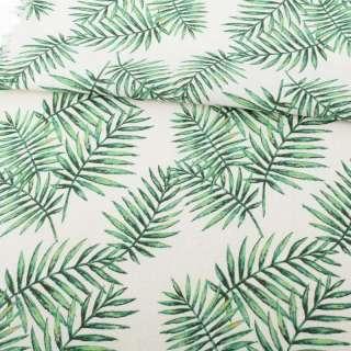 Деко-лен белый в зеленые тропические листья ш.150 оптом