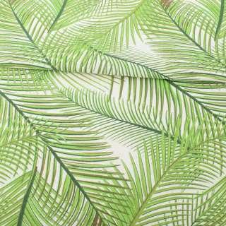 Деко-лен белый в салатовые ветки пальмы ш.152 оптом