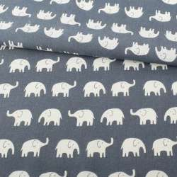 Деко-лен серо-синий, белые слоны ш.152