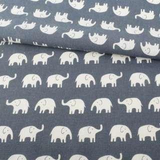 Деко-лен серо-синий, белые слоны ш.152 оптом