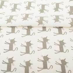 Деко-лен молочный, серые кошки, ш.150