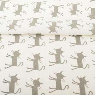 Деко-лен молочный, серые кошки, ш.150 оптом