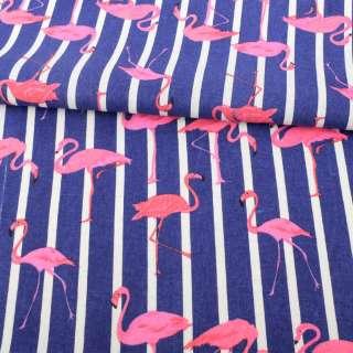 Деко-лен фиолетовый в белую полоску, розовые фламинго ш.150 оптом