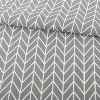 Деко-лен серый в белый геометрический рисунок елочка ш.154 оптом