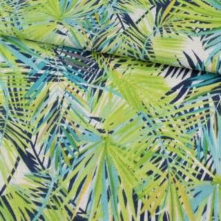 Деко-лен в зеленые, синие, голубые листья ш.150 оптом