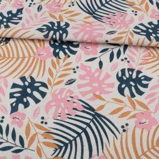 Деко-лен белый, синие, бежевые, розовые листья, ш.155 оптом