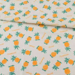 Деко-лен молочный, желтые ананасы, ш.152 оптом
