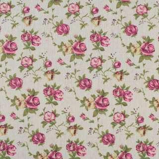Деко-льон бежевий в кремово-рожеві троянди оптом