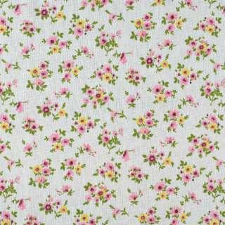 Деко-льон молочний в дрібні рожеві, жовті квітки ш.155 оптом