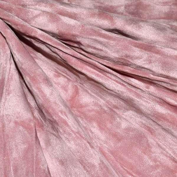 Замша искусственная дымчато-розовая жатая оптом