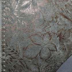 Замша искусственная на флисе серая с цветочным рисункам оптом