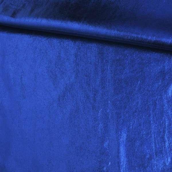 Замша искусственная с лазерным напылением синяя, ш.140 оптом