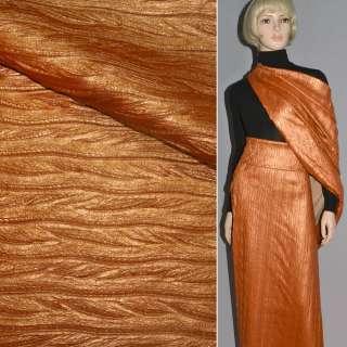 Шкіра штучна помаранчева перламутр косичка жата, ш.150 оптом