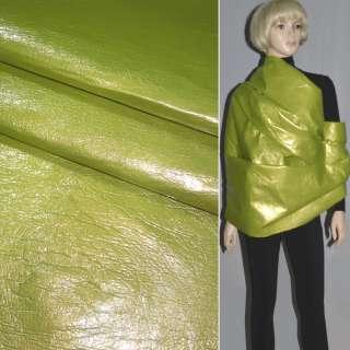 Кожа лаке искусственная салатовая жатая на х/б основе, ш.150 оптом