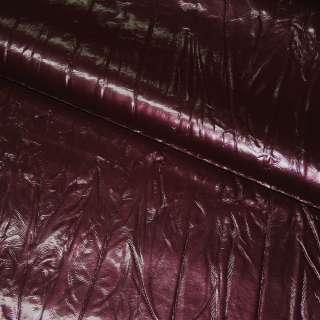 Кожа искусственная жатая лаке бордовая с перламутром, ш.150 оптом