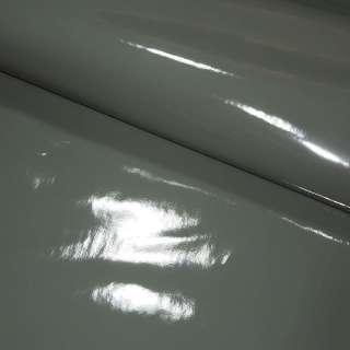 Кожа искусственная лаке на флисе серая ш.140 оптом