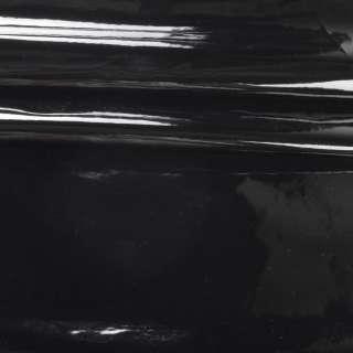 Кожа искусственная лаке на флисе черная ш.140 оптом