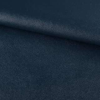 Кожа искусственная на флисе темно-синяя ш.140 оптом
