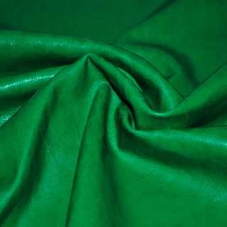 Кожа искусственная зеленая на флисе ш.140 оптом
