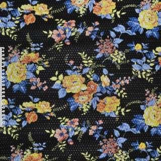 Шкіра штучна жата чорна в жовті квіти ш.140 оптом