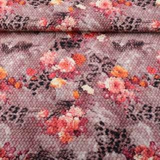 Шкіра штучна жата рожево-коричнева в бордові квіти ш.140 оптом