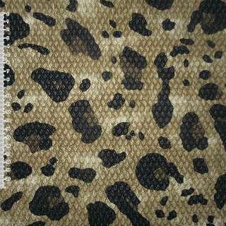 """Кожа искусственная жатая бежево-коричневая в черный """"леопард"""" ш.140 оптом"""