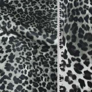 """Кожа искусственная на флисе молочно-серый """"леопард"""" ш.140 оптом"""