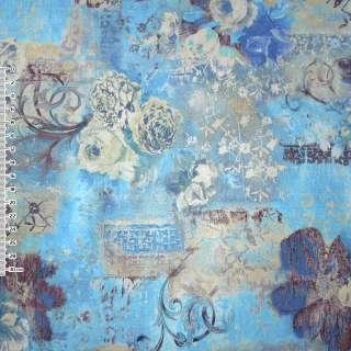 Кожа искусственная голубая с цветочным рисунком оптом