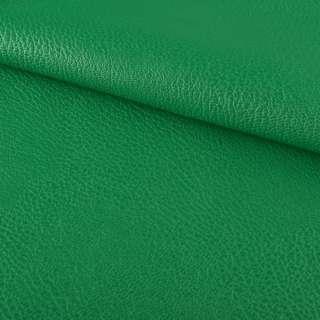 Кожа искусственная на флисе блестящая зеленая ш.144 оптом