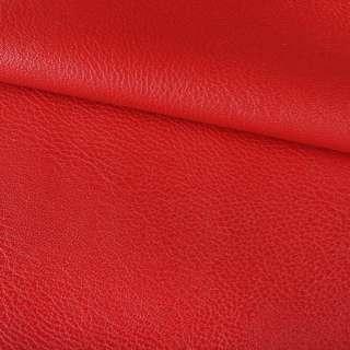 Кожа искусственная на флисе блестящая красная ш.145 оптом