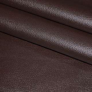 """Кожа искусственная темно-коричневая с красным оттенком на флисе """"пузырьки"""" ш.140 оптом"""