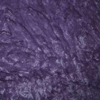 мех иск. фиолетовый жатый однотонный, ш.150 оптом