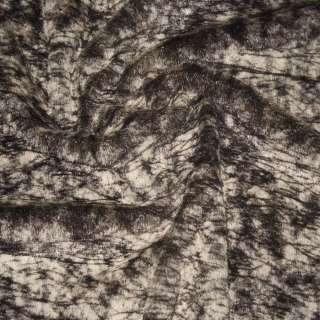 Мех искусственный средневорсовый коричнево-бежевый паутинка, ш.150 оптом